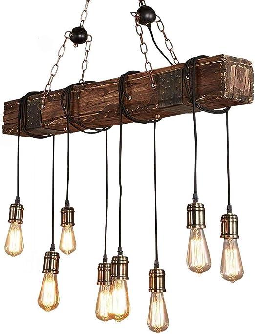 Onlt Lustre Industriel Bois Suspension Luminaire Industrielle
