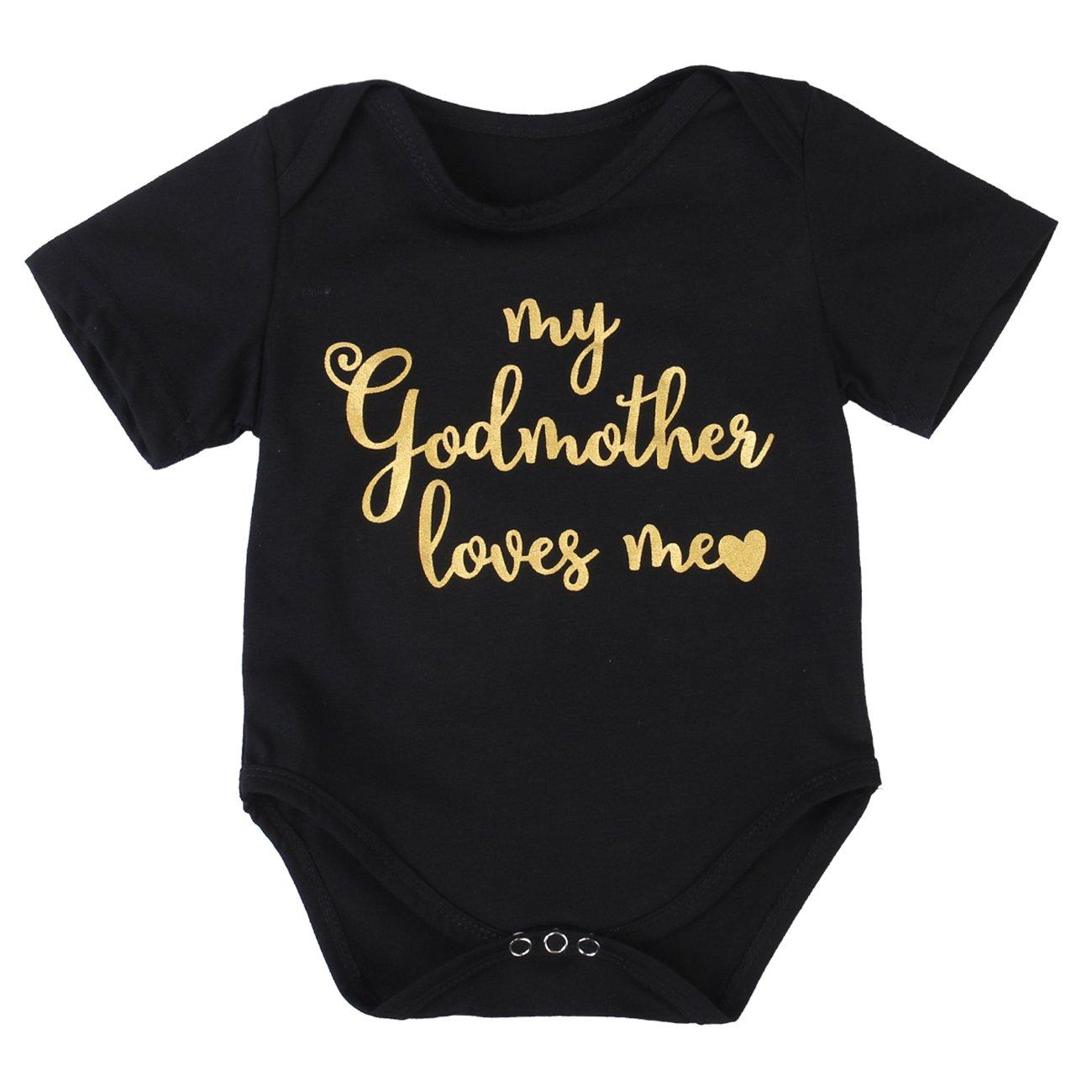 Gogoboi Cotton Baby Clothes Letter Print Short-Sleeve Bodysuit For Kid Boy Girl 0-24M (Black, 6-12 Months)