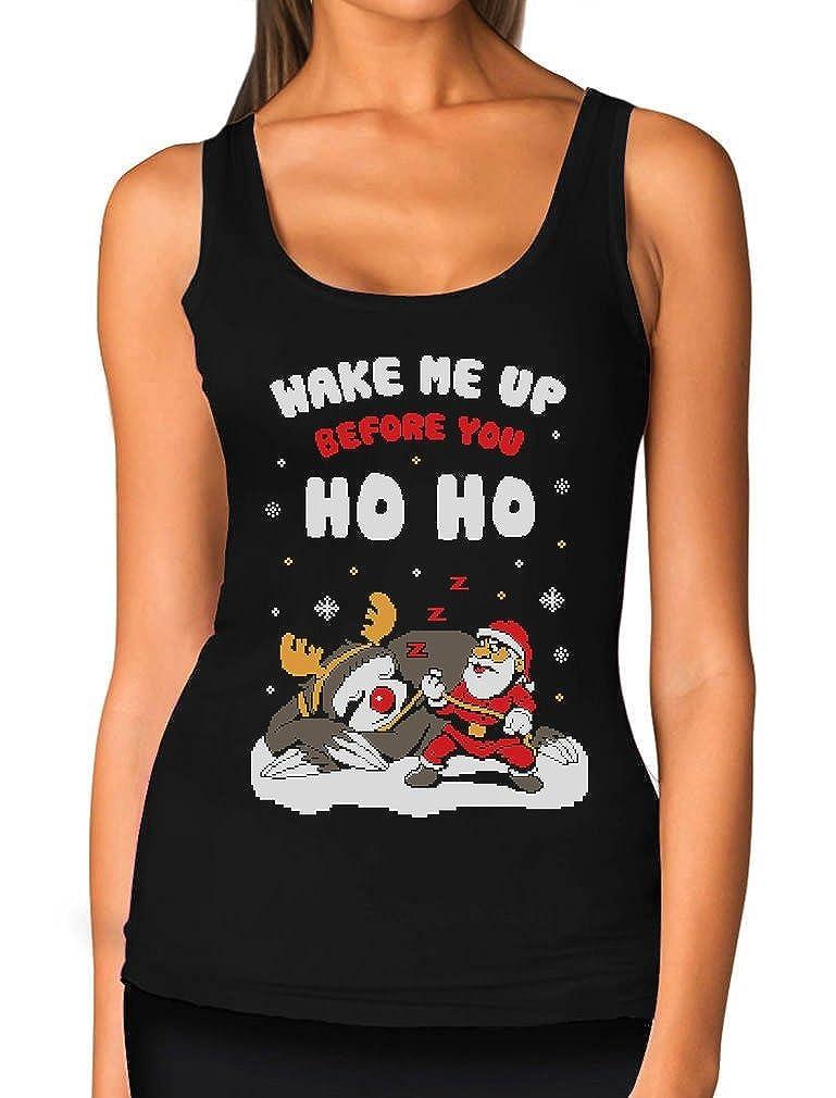 Santa Clause Christmas Girls Tank Top Where My Hoe/'s At?