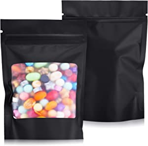 100 Pieces Resealable Mylar Bag Foil Bag Stand-up Food Storage Bags with Clear Window for Food Self Sealing Storage Supplies Coffee Beans Packaging Pouch