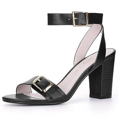 52d781b8f65 Allegra K Women s Stacked High Heel Buckle Ankle Strap Sandals (Size US 6)  Black