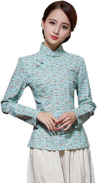 YueLian Disfraz Oriental Retro Blusa Estampado Camisa De Manga Larga La Mejorar de Camisas (ESP34=China M, Color B): Amazon.es: Ropa y accesorios
