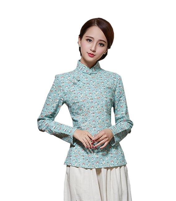 YueLian Disfraz Oriental Retro Blusa Estampado Camisa De Manga Larga La Mejorar de Camisas (ESP34