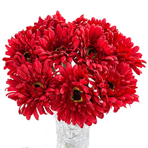 Htmeing 10 pcs Sunbeam Artificial Flower Mum Gerber Daisy Bridal Bouquet Silk Wedding Party Decoration (red)