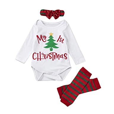 996ce2edd sunnymi 3PCS Newborn Infant Boy Girl Christmas Letter Romper+Leg Warmers+Headband  Toddler Kids Baby Outfit Clothes Set: Amazon.co.uk: Clothing