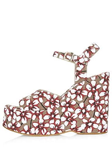 53e8b11e7b7ea TOPSHOP  Wallflower  floral print wedge sandals.UK 4  Amazon.co.uk  Shoes    Bags