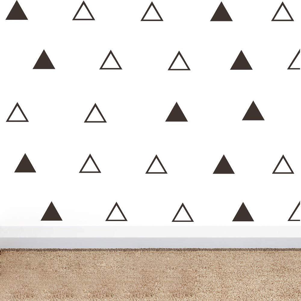 64pcs/Set Modern Vinyl Triangles Wall Decal Solid/Outline Triangles Pattern Wall Sticker DIY Home Decor Kids/Children Room Decor Stickers YYU-18 (Black)
