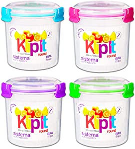 Sistema Containers Lunch Salad Set with Klip It Lids -- Set of 4 Large Sistema Lunch Containers, 23 Ounce / 0.7 Liter (BPA-Free, Food Safe, Microwave Safe)