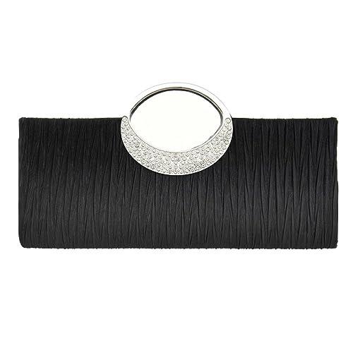 Fashion Road Womens Luxury Evening Wedding Party Purse Clutch Rhinestone Satin Pleated Handbag