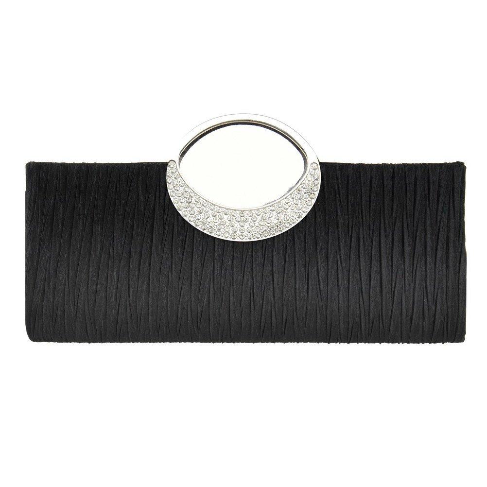 Fashion Road Womens Luxury Evening Wedding Party Purse Clutch Rhinestone Satin Pleated Handbag Wallet Black