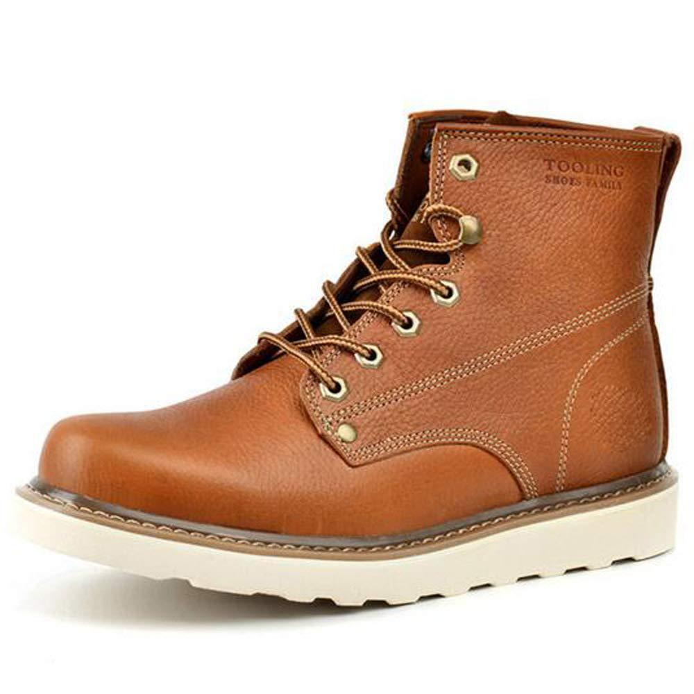 GZZ Schuhe Herren Martin Stiefel Herbst Winter Outdoor Ausrüstung Schnee Lederstiefel Rutschfeste Halten Sie Sich Warm,Light-braun-39