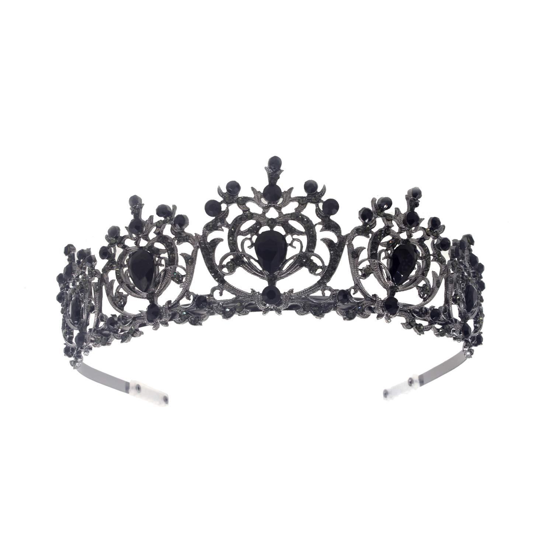 Weddingtopia Crystal Black Wedding Tiara And Matching Rhinestone Wedding Necklace Set Rhinestone Bridal Tiara Crown with side combs Wedding Hairband Comb Pin (BLACK BLACK) by Weddingtopia