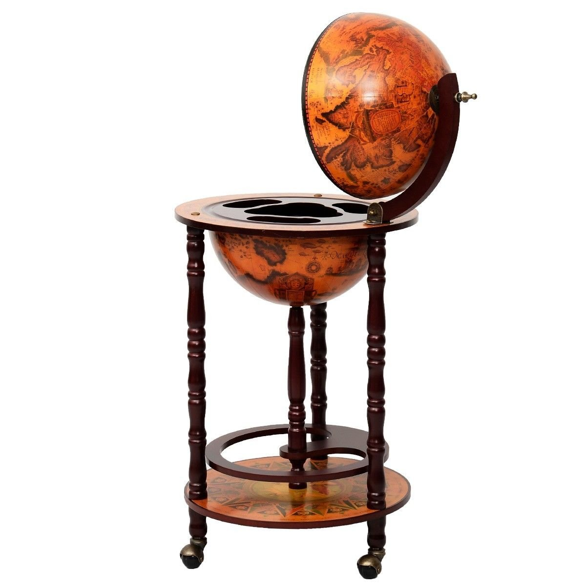 Unique Traditional Style 16th Century Italian Style 36'' Wood Globe Wine Rack Bar Stand Holds Bottles And Wine Glass In An Old World Map Design Looks Elegant In Your Living Or Home Office