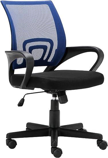 CLP Bürostuhl Genius mit Netzbezug   Höhenverstellbarer Drehstuhl mit Laufrollen und Armlehne Blau