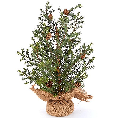 (Factory Direct Craft Artificial Burlap Wrapped Base Pine Tree with Pinecone Accents for Holiday Decor)
