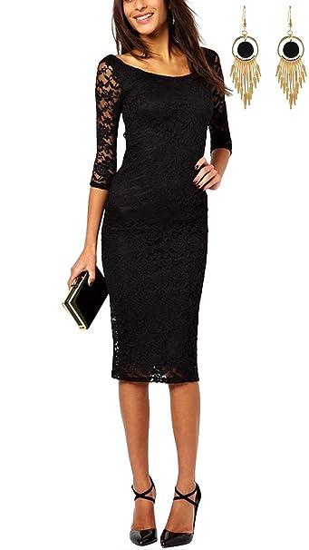 ca9ce71c7d5b Lylafairy Vestito Estate Donna Elegante Cerimonia Estivo Pizzo Aderente:  Amazon.it: Abbigliamento