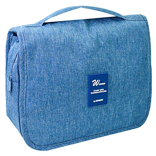 (Portable Hanging Toiletry Bag for Women Men - Large Capacity Waterproof Quick Makeup Bag for Women and Men - Toiletry Kit, Cosmetic Bag - Sky Blue)