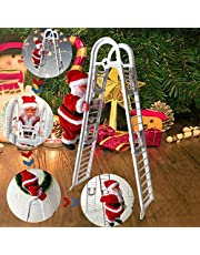 Christmas Decoration Doll, Electric Climbing Ladder Santa Claus, Christmas Figurine Ornament Decoration Gifts Christmas Music Doll Xmas Tree Hanging Ornaments Gift for Kids, Party Home Decoration