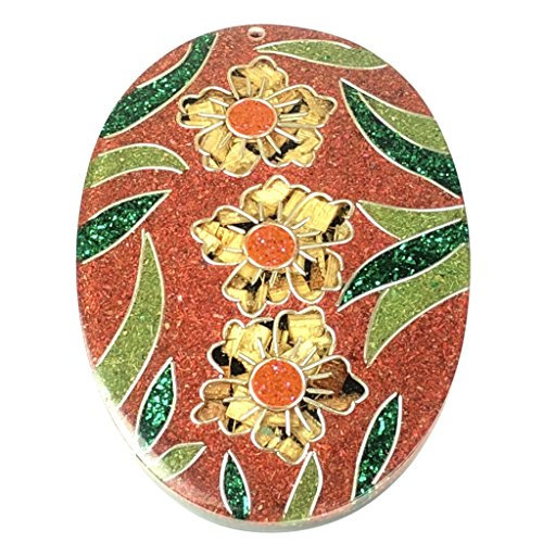 - [ABCgems] (Most Popular) Vintage Coconut Palmwood Sawdust Inlaid Garden with Flowers (Exquisite Craftsmanship- Grade AAA) Large 54X80mm Top- Drilled Oval Laminated Wood Pendant Bead