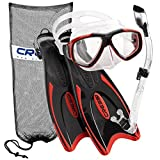 Cressi Palau Long Fins, Focus Mask, Dry Snorkel, Snorkel Set, Red SM