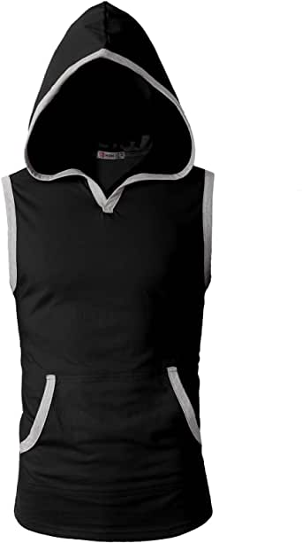 H2H Men's Casual Hoodie Tank Tops Sleeveless Shirts Gym Workout with Pockets