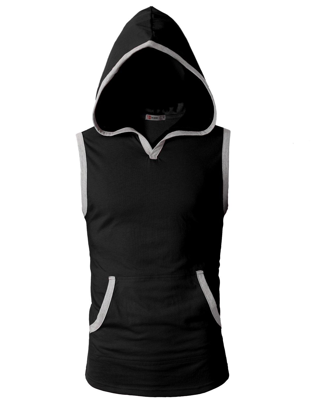 H2H Mens Stringer Hoodie Gym Tank Top Bodybuilding Hoodie Tee Black US S/Asia M (CMTTK015)