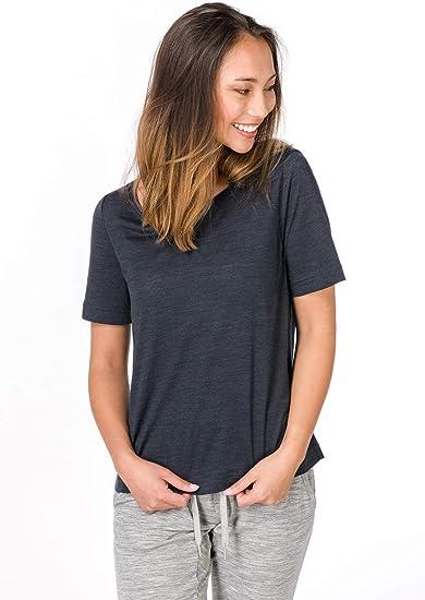 Mit Merinowolle W ESSENTIAL SCOOP TEE super.natural D/ünnes Damen Kurzarm Shirt