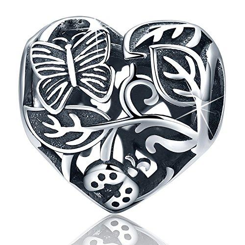 XingYue 925 Sterling Silver Heartbeat Charm Bead Red Enamel Love Heart Charm Love in My Heart (Heart Flower -