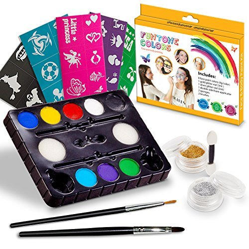 Face painting kits. Free 40 Stencils Included. Use for Body Painting, Birthday, Halloween ,fan Sports or Kids Makeup Parties.Our Face Paint Kit Contain Palette 8 Colors, Glitter,Brushes & Sponges -