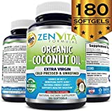 Coconut Oil Tablets Organic Coconut Oil - 180 Softgels, Coconut Oil Capsules Made with Organic Extra Virgin Coconut Oil. Expeller Pressed and Unrefined. Natural Energy Source