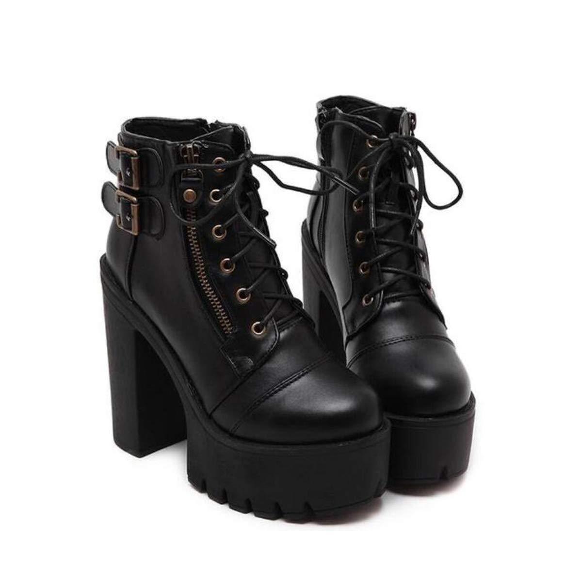 DANDANJIE Damen Plateaustiefel Super High Heel Schuhe Zip Chunky High Heel Pumps für den Herbst,schwarz,35EU