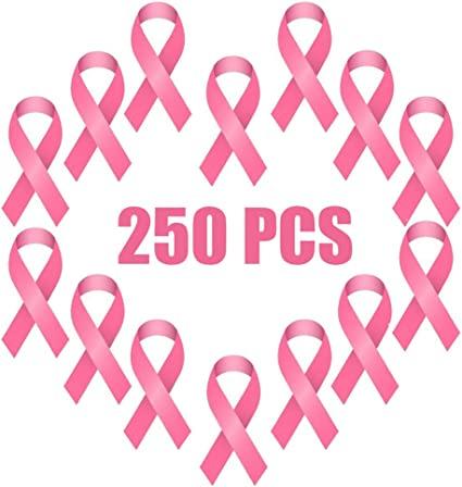 250 Cancer Awareness satin Ribbons with safety pins
