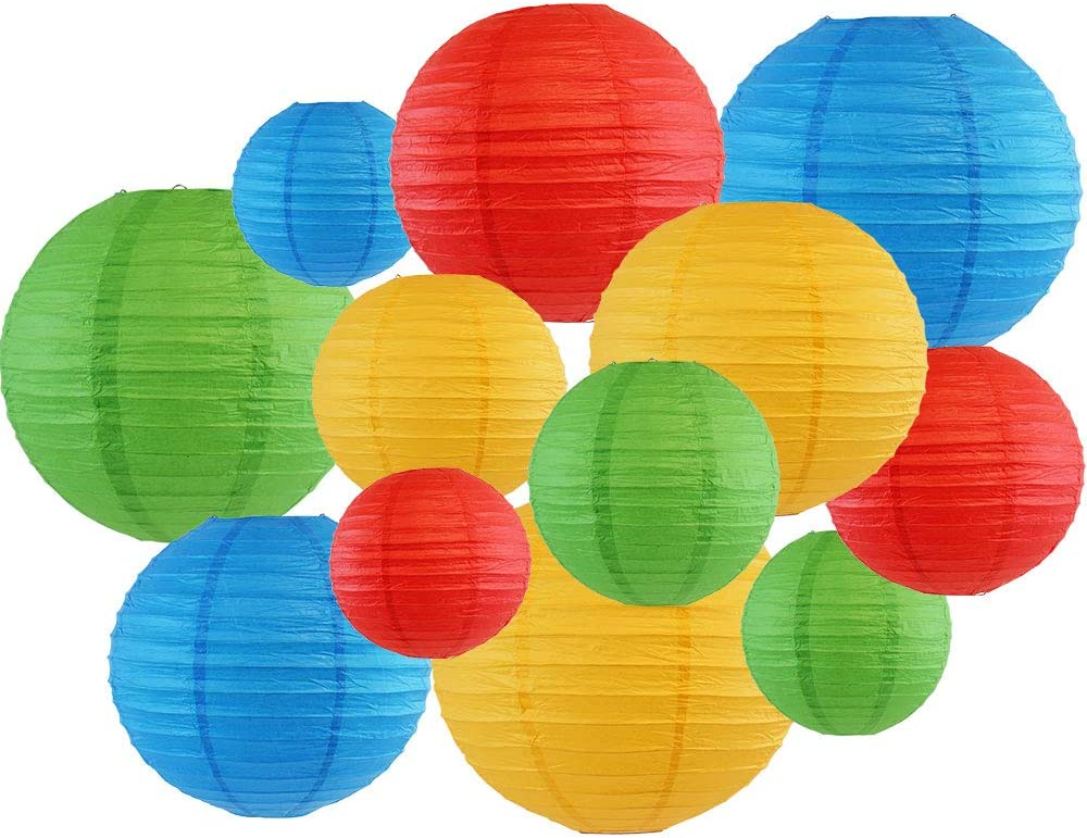 Just Artifacts Decorative Round 12pcs Assorted Paper Lanterns (Color: Blue, Green, Red, and Pineapple)