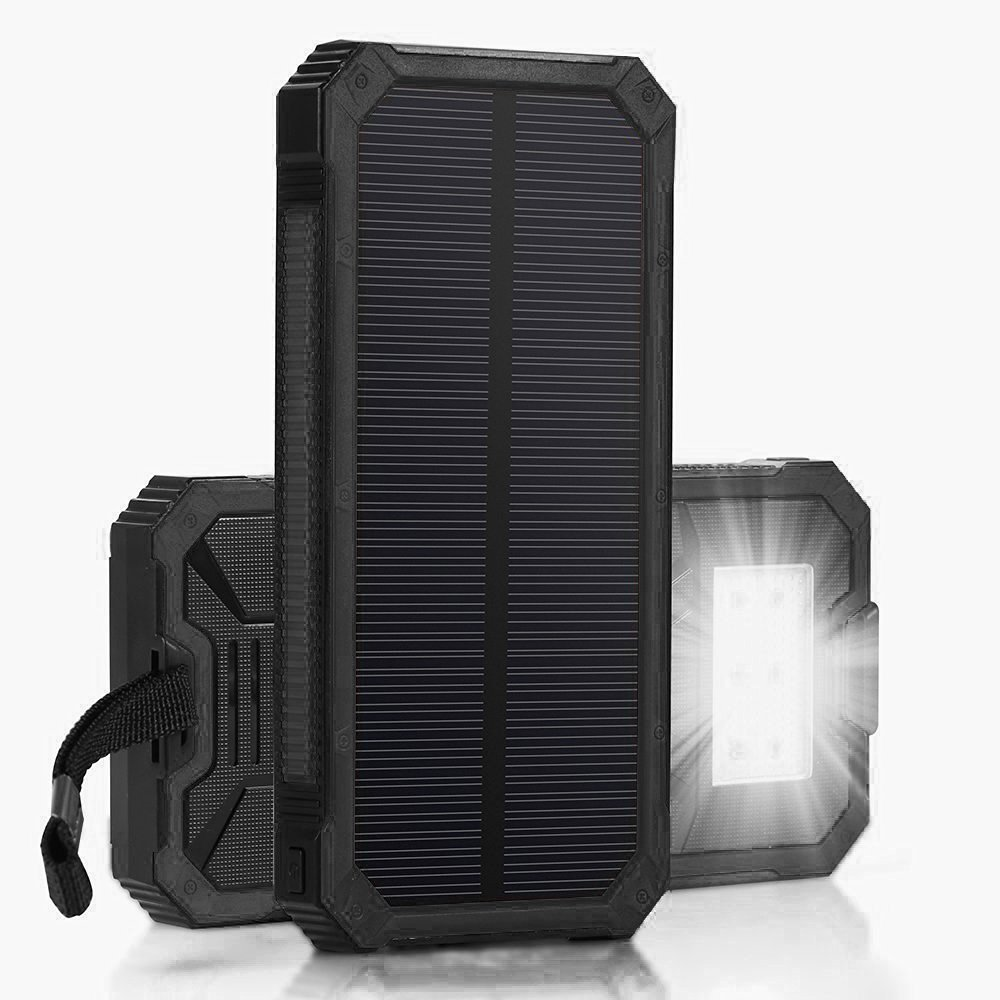 Dualpow Portable Dual USB Solar Battery Charger External Battery Pack Phone Charger Power Bank with Flashlight for Smartphones Tablet Camera Solar Chargers 30,000mAh 0RANGE