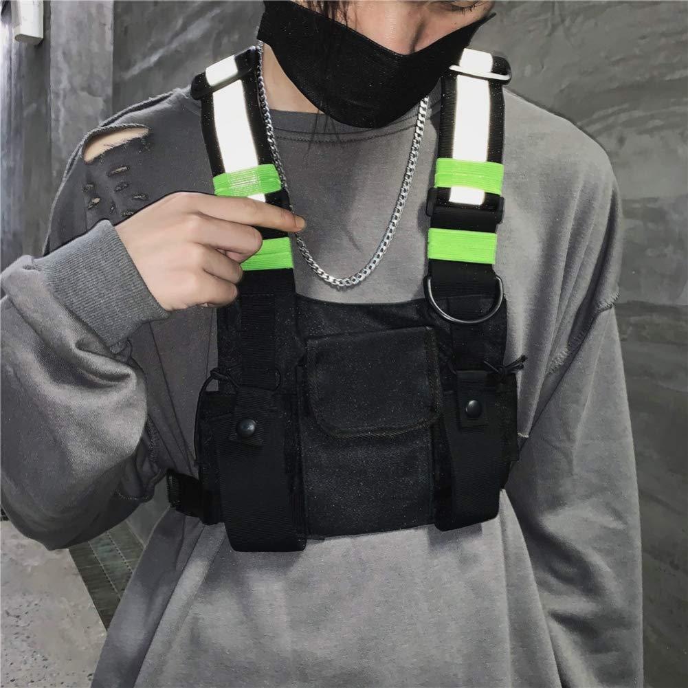 PENGYOUU Paquete de Bolsa de Pecho Paquetes de Cintura para Hombres//Mujeres Mochila de Bolsillo de Cintura Delantera Bolsa de Aparejo de Moda Arn/és Funcional Reflectante Streetwear