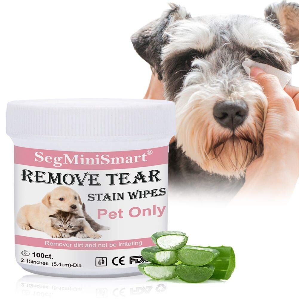 SEGMINISMART Tear Stain Remover Wipes for Cats & Dogs, Cat Eye Wipes, Pet Eye Cleaning Wipes, Tears Stain Removing Treatment, Best Natural Eye Crust Treatment for White Fur, 100 Pre Soaked Cotton Pads by SEGMINISMART