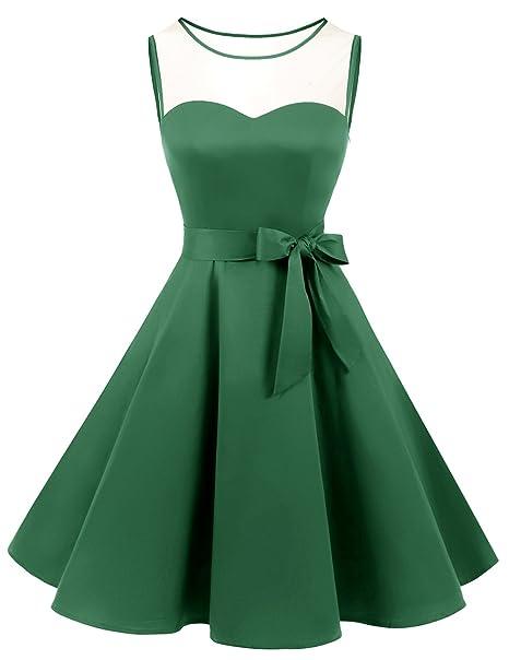 Bridesmay Vintage Mujer Vestido de Fiesta Coctel sin Mangas Green S