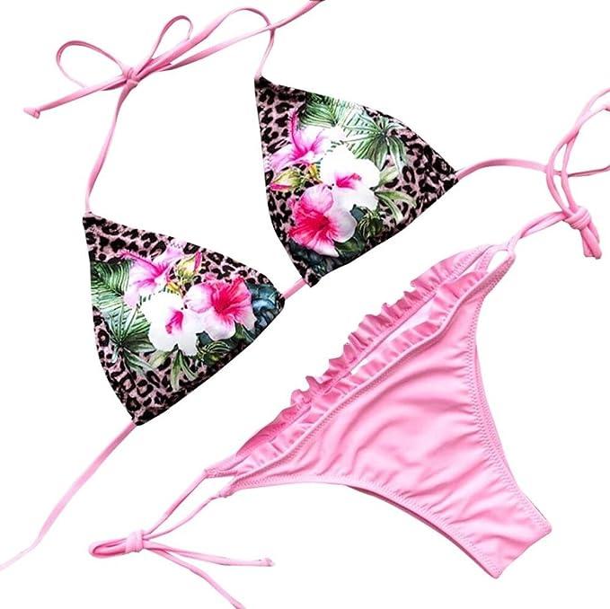 Übergröße Damen Neckholder Badeanzug Bademode Gestreift Push Up BH Bikini Set