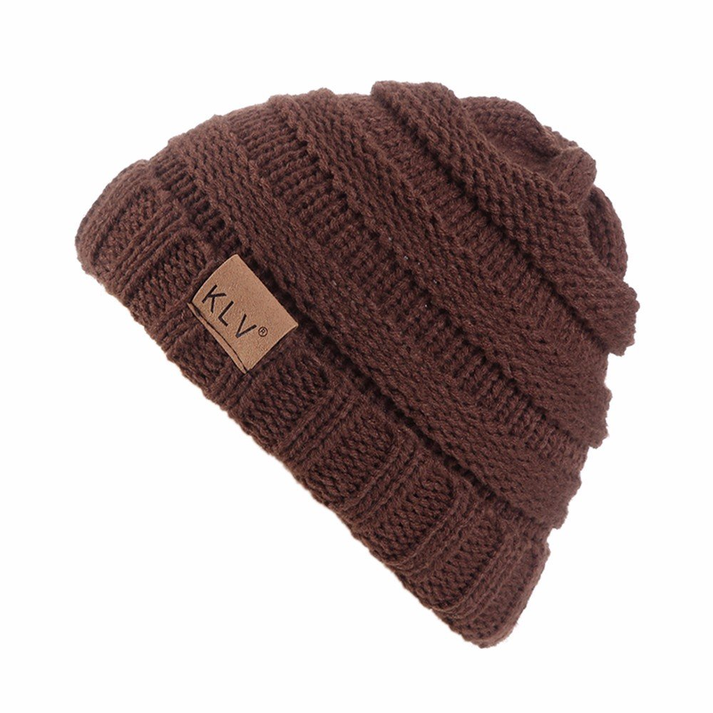 HULKAY Boy Girls Caps Premium Soft Stretch Winter Trendy Warm Wool Knitted Hat(Coffee)