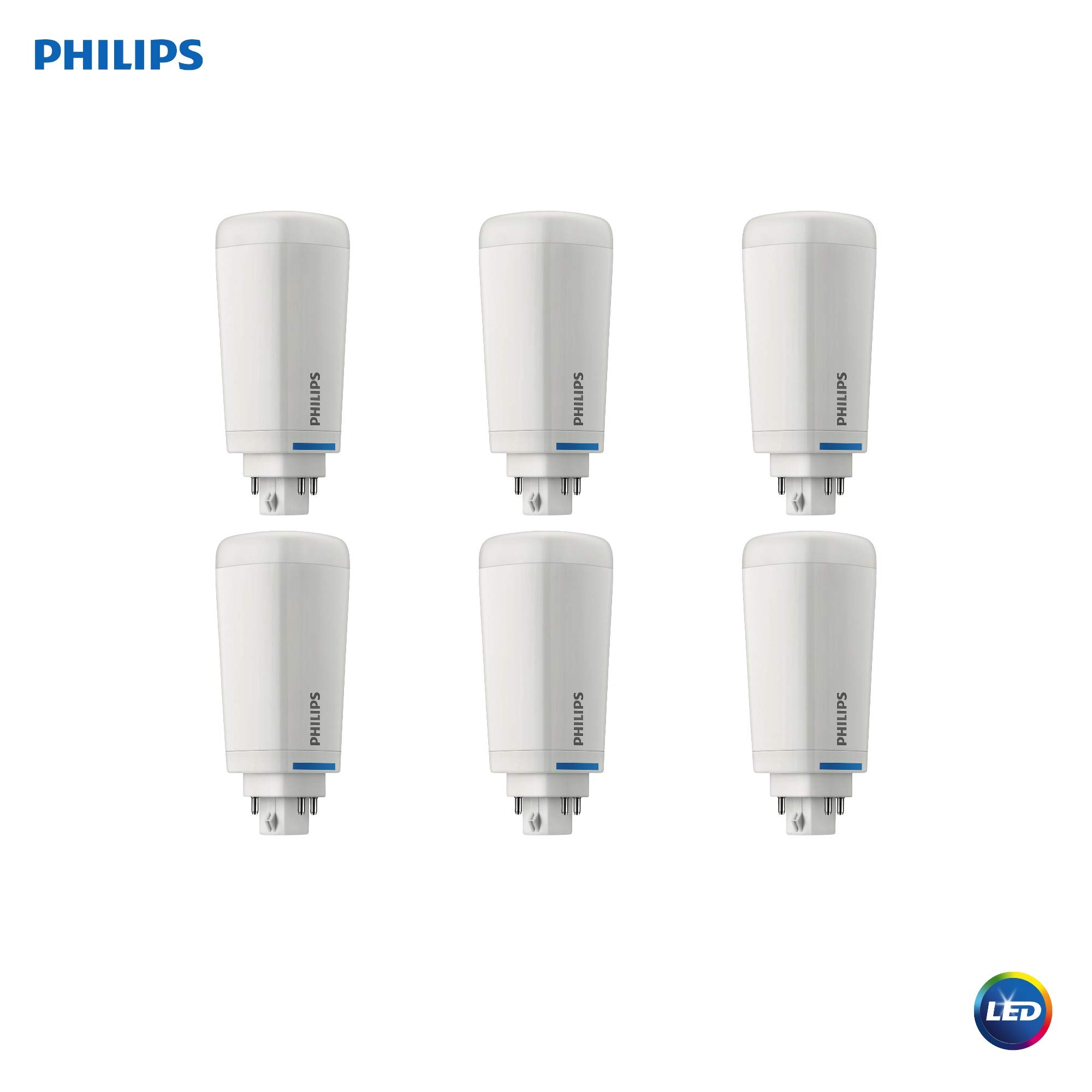 Philips LED 535385 Dimmable Energy Saver PL-C/T Light Bulb: 1200-Lumen, 3500-Kelvin, 10.5 (26-Watt Equivalent), 4-Pin G24Q/GX24Q Base, Frosted, Neutral White, 6-Pack, Piece