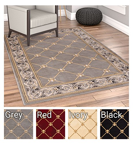 Patrician Trellis Grey Lattice Area Rug European French Formal Traditional Area Rug 5' x 7' Easy Clean Stain Fade Resistant Shed Free Modern Classic Contemporary Thick Soft Plush Living Dining Room