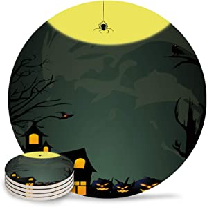 Coasters for Drinks Absorbent Chic Round Cup Holder 4 Pack, Ceramic Bar Coasters for Home Kitchen Coffee Table Decor Mysterious Haunted House and Pumpkin Halloween Theme Cool Wine Glass/Mugs Holder