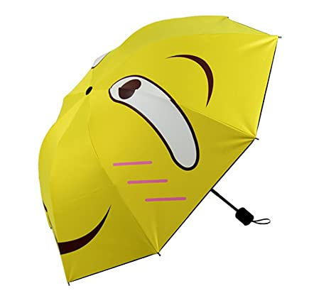 Kongsta Small Folding Umbrella Yellow Fashion Parasol Sunny And Rainy Cute Waterproof Female Umbrellas Anti Rain