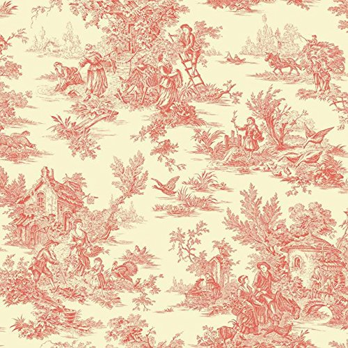York Wallcoverings AF2018 Ashford Toiles Campagne Removable Wallpaper, Orange/Yellow (Wallpaper Vintage Toile)