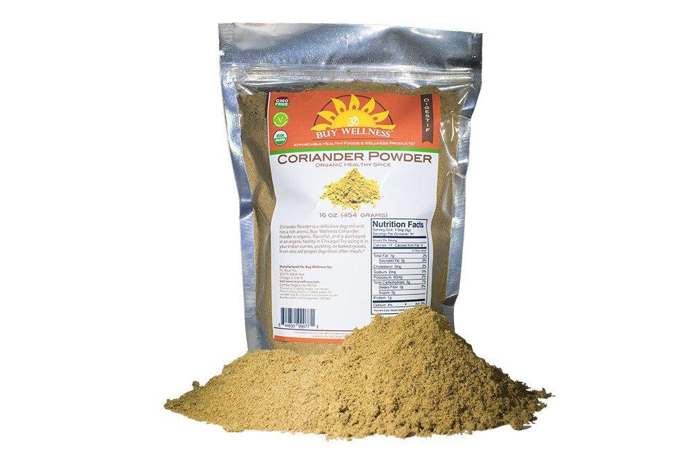 Buy Wellness Coriander powder, Organic, Fresh Ground Coriander Certified Organic, 100% pure Indian Coriander or Dhania Powder 1 lb bag