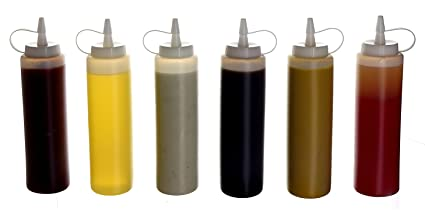 Oaklyn Botellas plásticas de condimentos para gotear con tapas (paquete de 6) 14 onzas
