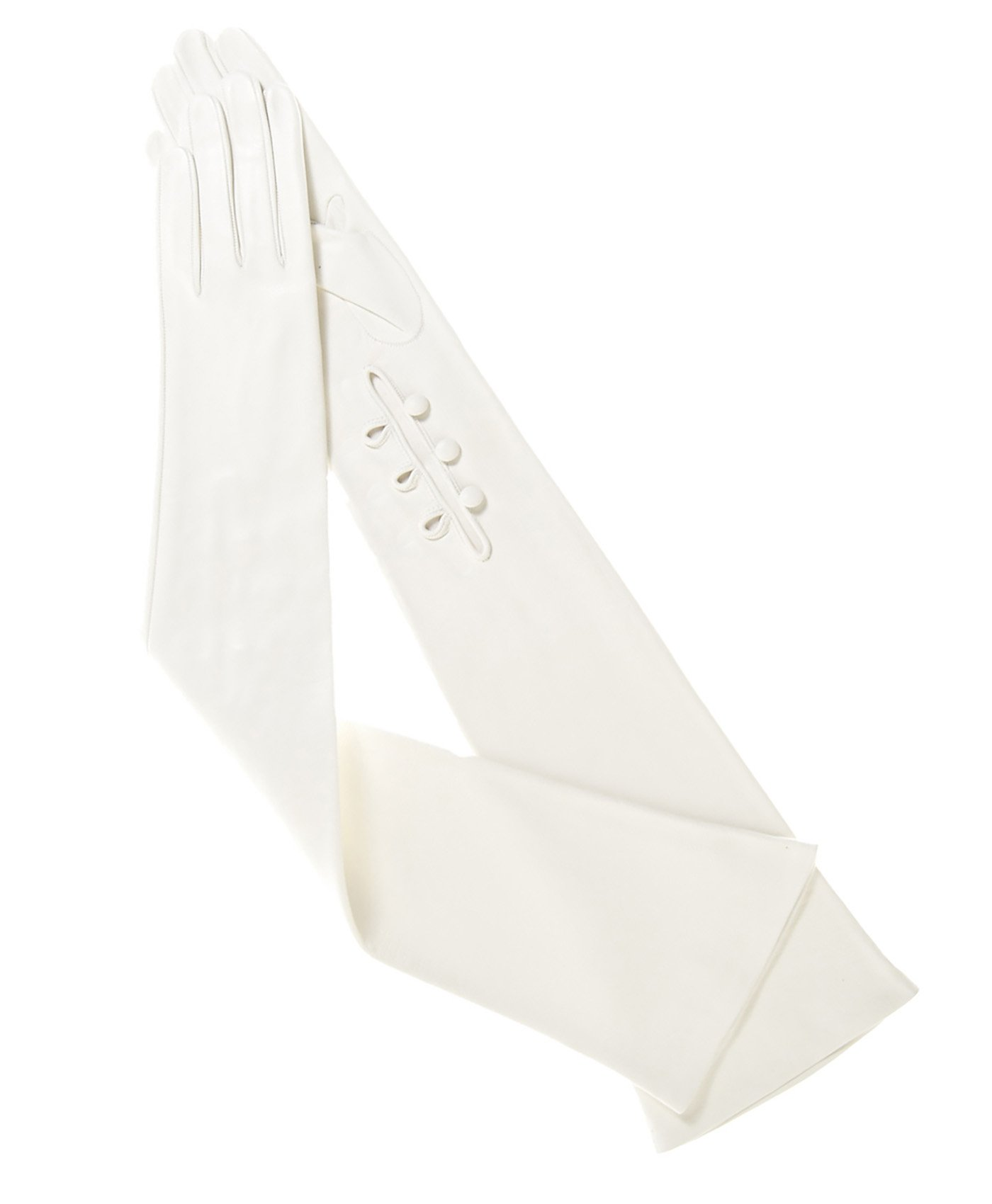 Fratelli Orsini Women's Italian Silk Lined 12-Button Length Bridal Gloves Size 7 Color White by Fratelli Orsini