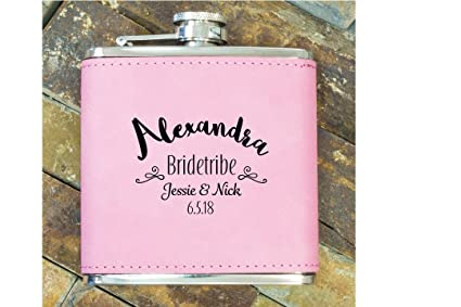 custom bridesmaid gifts personalized bachelorette party favors engraved pink flask cute bridesmaids flasks