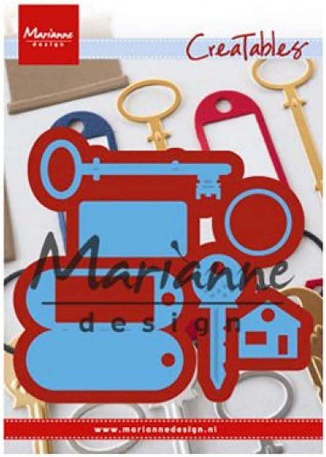 de pour Projects de Loisirs cr/éatifs avec du Papier Marianne Design LR0523 Matrices de D/écoupe et Embossing Creatables Bleu M/étal Porte-cl/és Regular