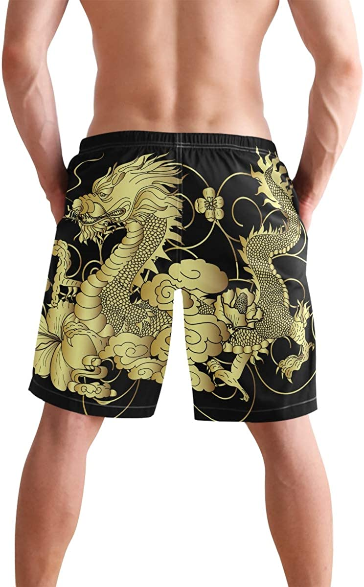 Mens Summer Swim Trunks Quick Dry Beach Board Shorts Mesh Lining,Golden Floral